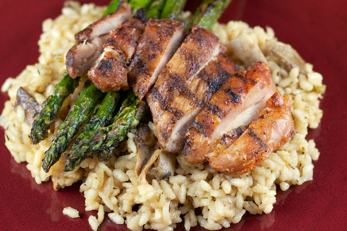 Porcini Risotto with Grilled Chicken Thighs and Asparagus ...
